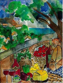 Picnic Basket in Provence by Elaine Elliott