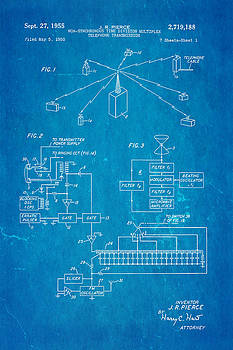 Ian Monk - Pierce Communications Satellite Patenet Art 1955 Blueprint