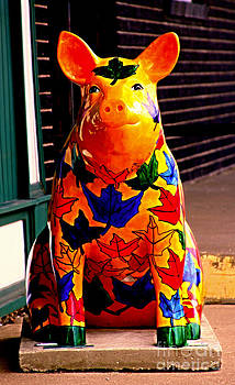 Pig Art Statuary Leaves by Margaret Newcomb