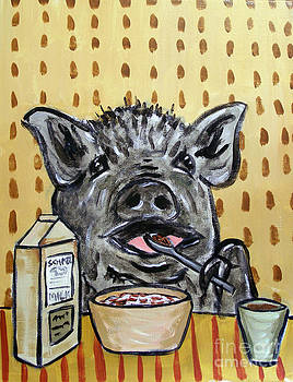 Pig Eating Cereal by Jay  Schmetz
