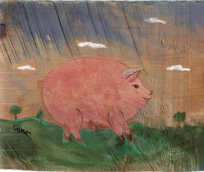 Pig on Wood by Debbie Wassmann
