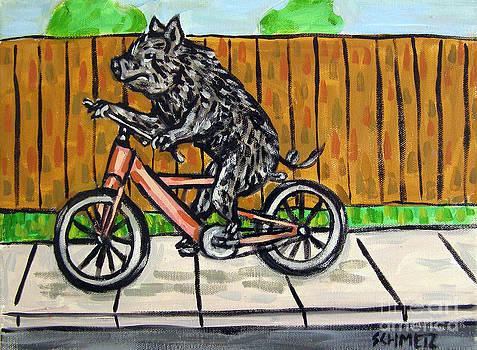 Pig Riding a Bike by Jay  Schmetz