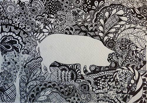 Pig Tangle Black and White Ink OOAK by Pigatopia by Shannon Ivins