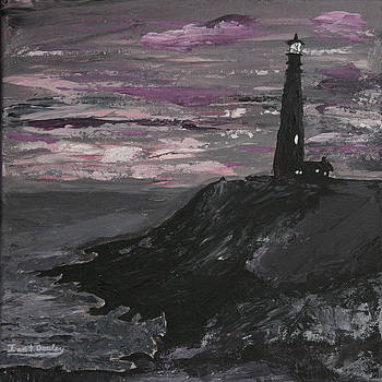 Ian Donley - Pigeon Lighthouse Impasto Sunset Monochromatic