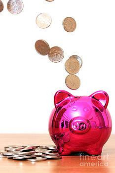 Simon Bratt Photography LRPS - Piggy bank saving with money pouring into it