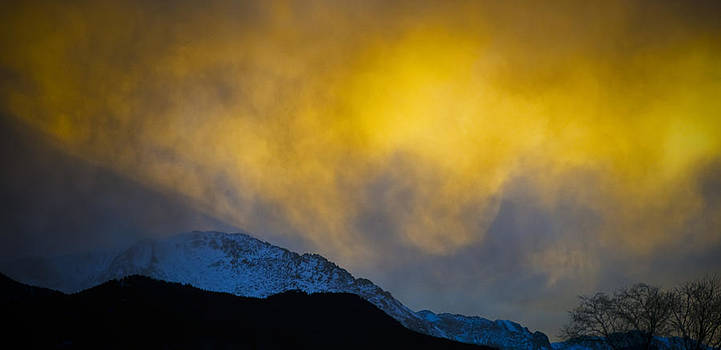 Pike's Peak snow at sunset by Greg Reed