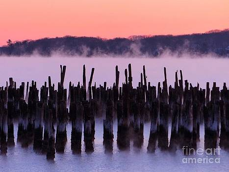 Christine Stack - Pilings Sea Smoke Sunrise
