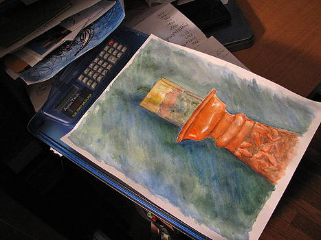 Sandy Tolman - Pillar Candle Watercolor - on clip board