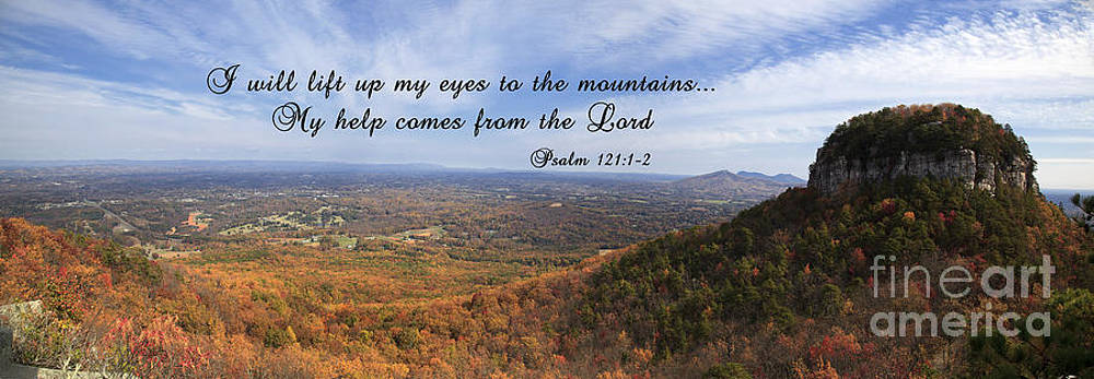 Jill Lang - Pilot Mountain Panorama with Scripture