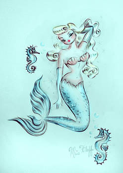 Pin Up Mermaid #2 - Dreamy Aqua by Miss Fluff