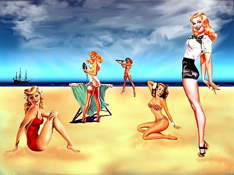 Pin Ups on The Beach by Amanda Struz