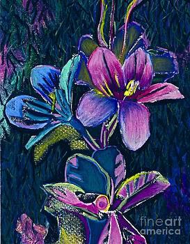 Pink and Blue Flowers by Jennifer Reitmeyer