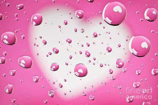 Pink And White Heart Reflections In Water Droplets by Sharon Dominick