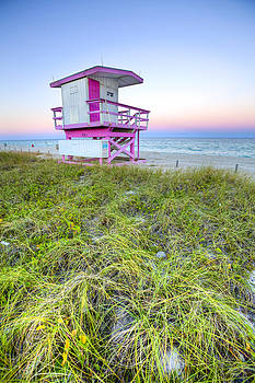 Pink and White Lifeguard House by Derek Latta