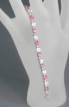 Pink and White Topaz Sterling Silver Link Bracelet by Robin Copper