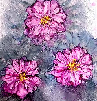 Pink Dahlia Blooms Alcohol Inks by Danielle  Parent