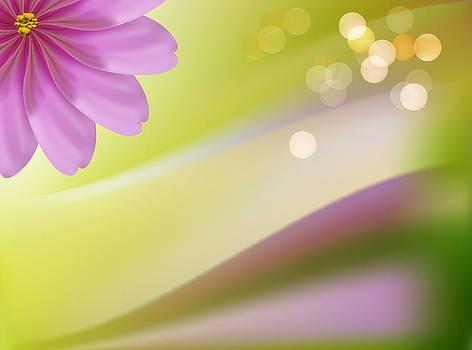 Pink decorative beautiful flowers green background by Larisa Karpova