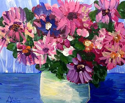 Pink Flowers In Pot by Arlene Holtz