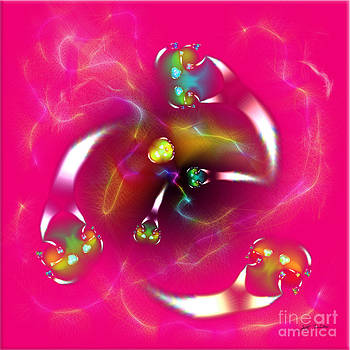 Pink Green Aliens Playing Catch Digital Art by Heinz G Mielke
