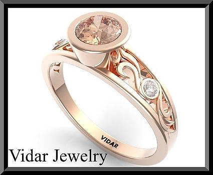 Pink Morganite And Diamond 14k Rose Gold Engagement Ring by Roi Avidar