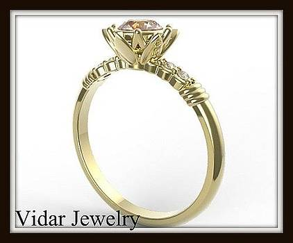 Pink Morganite And Diamond 14k Yellow Gold Flower Engagement Ring by Roi Avidar