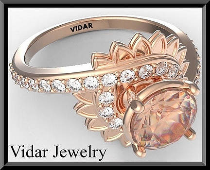 Pink Morganite And Diamond Flower 14k Rose Gold Engagement Ring by Roi Avidar