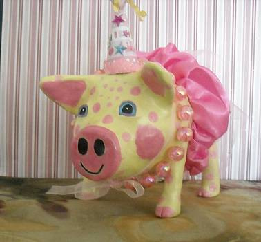 Pink Party Pig by Sandra Oropeza