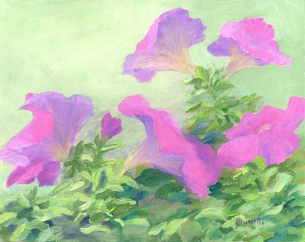 Pink Petunias Beautiful Flowers Art Colorful Original Garden Floral Flower Artist K. Joann Russell  by Elizabeth Sawyer