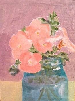 Pink Petunias in a Blue Mason Jar by Molly Fisk