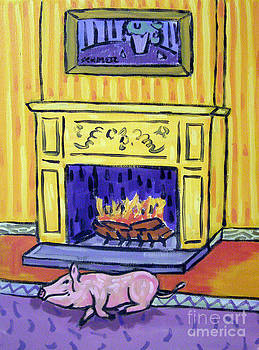 Pink Pig by the Fireplace by Jay  Schmetz