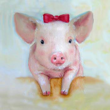 Junko Van Norman - Pink Pig Nursery Art Canvas Print