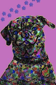 Pink Polkadot Pug 1 by Chris Goulette