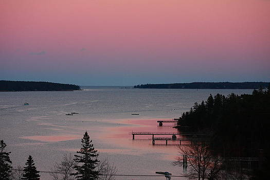 Pink Reflection in the Water at Sunset in Southwest Harbor Maine by Dana Moos