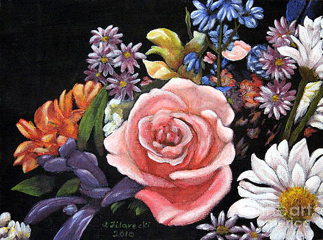 Pink Rose Floral Painting by Judy Filarecki