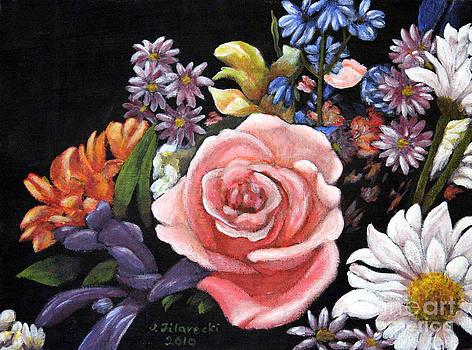 Pink Rose Floral Painting by Judy Filarecki