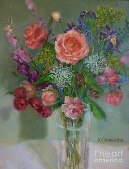 Pink Roses in Glass by Kathleen Hoekstra
