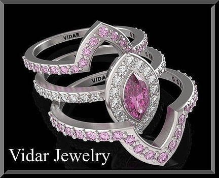 Pink Sapphire And Diamond 14k Wedding Ring And Engagement Ring Set by Roi Avidar