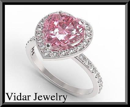 Pink Sapphire And Diamond 14k White Gold Heart Engagement Ring by Roi Avidar