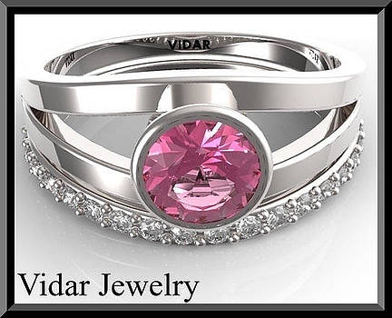 Pink Sapphire And Diamonds 14k White Gold Wedding Ring Set by Roi Avidar