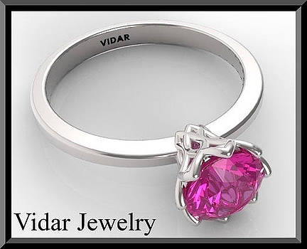 Pink Sapphire Solitaire 14k White Gold Engagement Ring by Roi Avidar