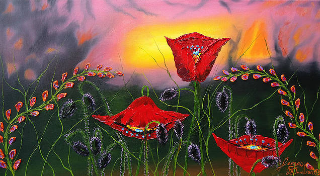 Pink Sky Red Poppies by Portland Art Creations