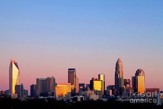 Pink skyline in Charlotte NC by Patrick Schneider