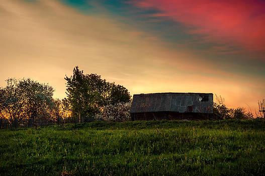 Jenny Rainbow - Pink Sunrise. Old Barn an Cherry Blossom