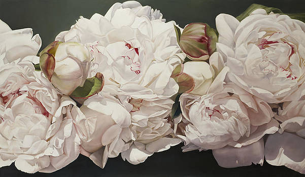 Pink White Peonies Oil Painting by Thomas Darnell