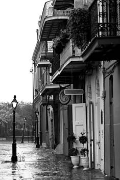 Pirates Alley in the Rain  BW by Susie Hoffpauir