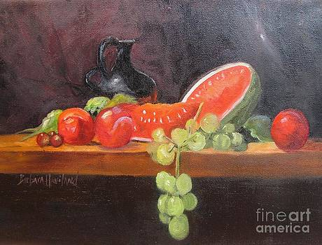 Pitcher Watermelon Plums Grapes by Barbara Haviland