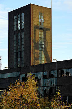 Pithead shadow Zollverein Essen Germany by David Davies