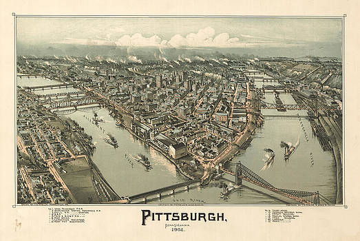 Pittsburg Map by Vintage Images