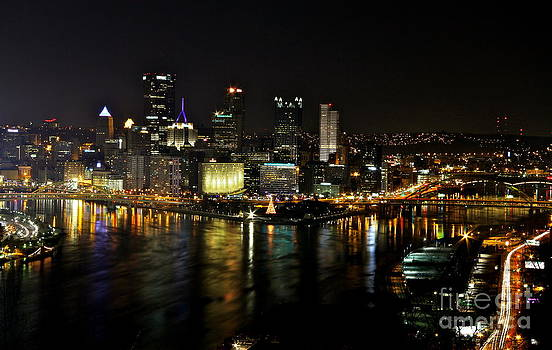 Pittsburgh Christmas at Night II by Jay Nodianos
