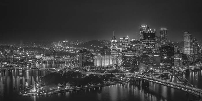 Pittsburgh Night Black and White by Brian Young